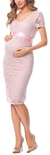 Be Mammy Vestido Premamá Manga Corta de Encaje Embarazo BE20-162 (Fucsia Pálido, L)
