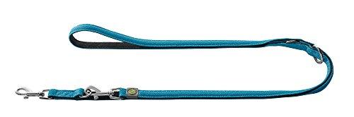 HUNTER MANOA Verstellbare Führleine für Hunde, Mesh-Material, weich, gepolstert, 2,5 x 200 cm, blau