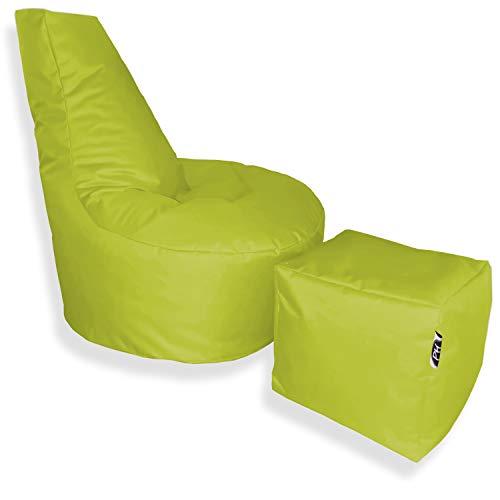 Patchhome Puf con forma de cubo y taburete, diámetro de 75 cm, altura de 80 cm, altura del asiento de 30 cm, cubo de 35 x 35 cm, rellenable, relleno de poliestireno, en 2 tamaños, color verde