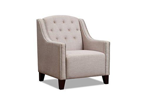 The One Kolonial Stoff Sessel–Kamin Sessel–Wingback Sessel–Finish: Beige Stoff–Wohnzimmer Möbel
