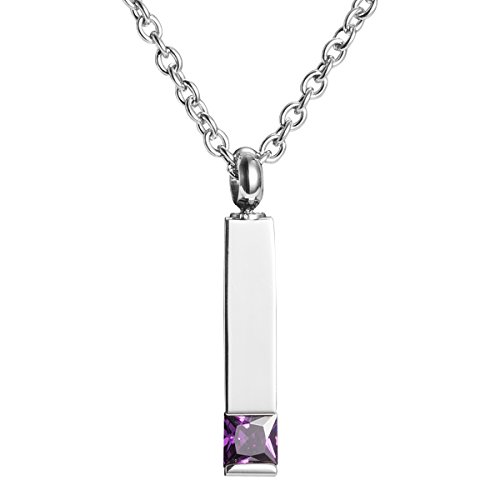 Pillar Cremation Jewelry Keepsake Memorial Ash Urn Necklace with Crystal (Purple)