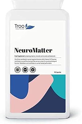 NeuroMatter Brain Support 90 Capsules   Includes Ginkgo Biloba   Choline Bitartrate   Betaine   L-Carnitine   Lecithin   Vitamins and Minerals   UK Manufactured   Quality Guaranteed