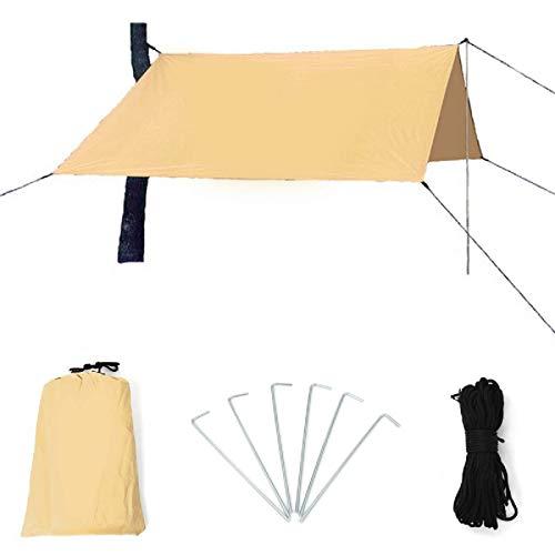 Toldo de vela de 400 x 300 cm para exteriores, con toldo de lluvia, para camping, playa, picnic, refugio, tienda de campaña (tamaño: 3 x 4 m), color caqui