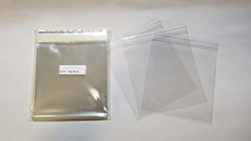 UNIQUEPACKING 100 Pcs 6 7/16 X 6 1/4 Clear Resealable Cello Cellophane Bags Good for 6x6 Square Card