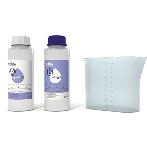 ETelec CRYSTALGEL 1 Litro, Kit Gel Silicona Bicomponente Transparente Cristalino Relleno Aislantes...