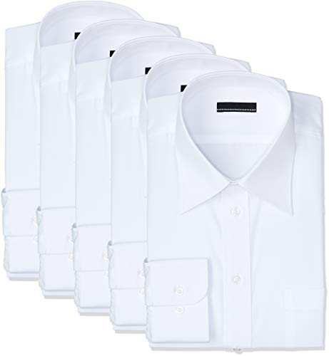 [アトリエサンロクゴ] 白ワイシャツ 長袖 5枚セット 形態安定 ビジネス 冠婚葬祭 at-6041-set メンズ ホワイト 日本M(39-82)(日本サイズM相当)
