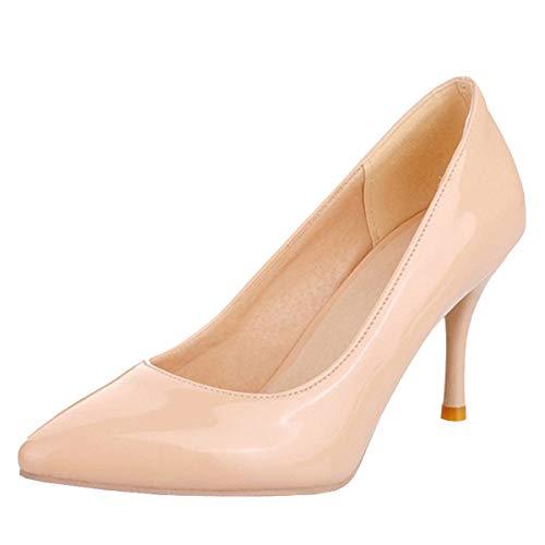 LUXMAX Scarpe da Donna High Heels Stiletto Decolte con Tacco Alto Spillo Sexy a Punta Slip-on Pumps Shoes in Vernice (Beige Nude) - 38 EU