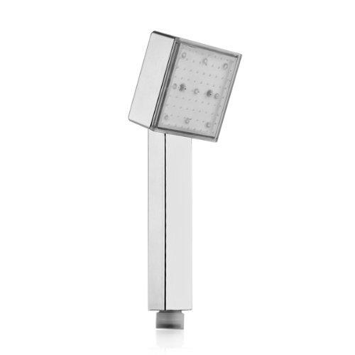 Alcachofa Ducha a Mano Cuadrada Cromo ABS Luz LED 3 Colores Bano R SODIAL