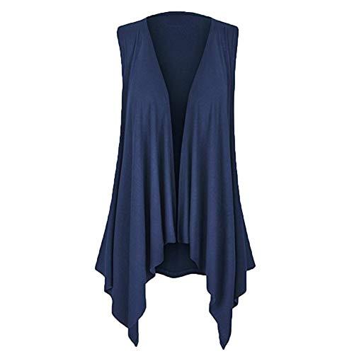 YWLINK Damen ÄRmellos RüSchen Drapierter UnregelmäßIger Strickjacke Einfarbig Weste Top Bluse(XL,Marine)