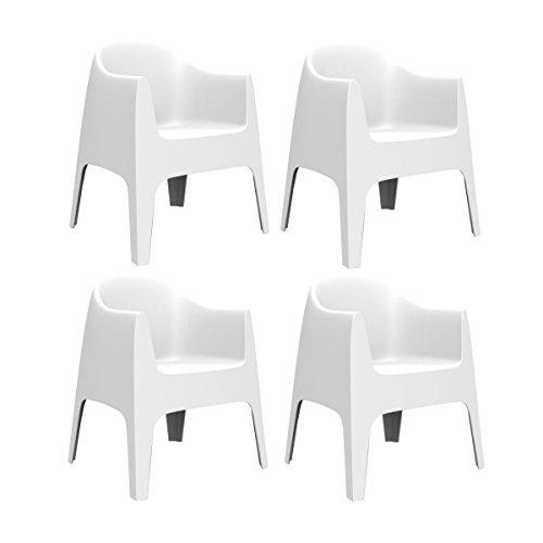 Vondom Solid - Set di 4 sedie con braccioli, 80 x 65 x 60 cm, per interni ed esterni