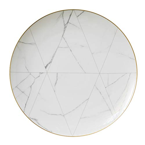 HXB Plates Ceramic Tableware, Restaurant Dinner Plate/steak/dessert Household Western Style White Marble Tableware (Size : 1pcs 30.5 cm/12 inch)