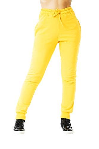 MATKA Damen | Jogginghose | Trainingshose | Sport Fitness | Gym | Training | Jogger Leggings | Einfarbig | Jogging-Hose | Stripe Pants | Modell 5000C Gelb S