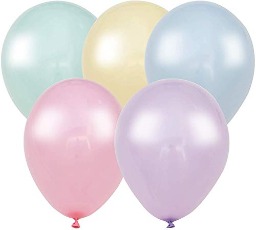 Sheryl Décor 100 Pastel Balloons for Parties – 10 Inch Latex Balloons for Party Decorations or Rainbow Supplies - Blue, Purple, Yellow, Green and Pink Balloons for Ice Cream, Donut, Sprinkle, Birthday