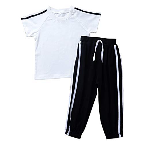Kleinkind Kinder Baby Mädchen Jungen Stripe Print Tops T Shirt Hosen Outfits