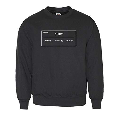 MITEES Skyrim Herren Sweatshirt mit schwarzem Rand Gr. XL, Schwarz