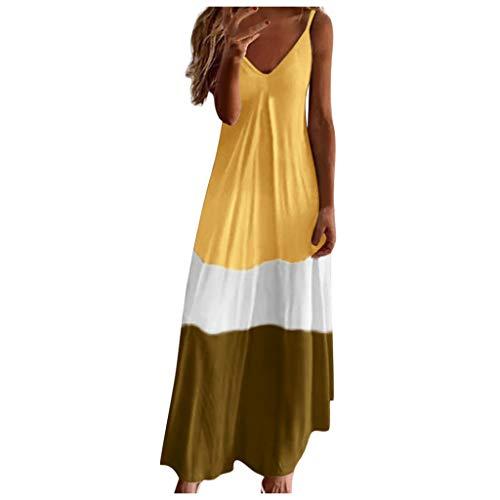 Hochzeit Hängekleider Damen Sommer Sommerkleider Lang Damen Strandkleid Vintage Kleidung Sportkleid Strickkleider Für Damen Luftige Sommerkleider Kimono Kleid Geripptes Kleid(Gelb,XL)