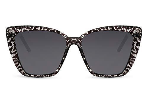Cheapass Gafas de sol Sunglasses grandes Ojo de Gato Mariposa Trendy para mujer Estilo con estampado de tigre blanco con lentes oscuros Patillas de Metálicas negro con protección UV400