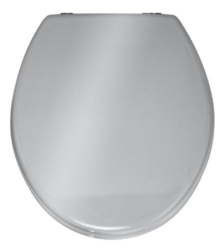 WENKO 152256100 WC-Sitz Prima Toilettensitz, Spülkasten geeignet, rostfreie Edelstahlbefestigung, 37 x 41 cm, silber