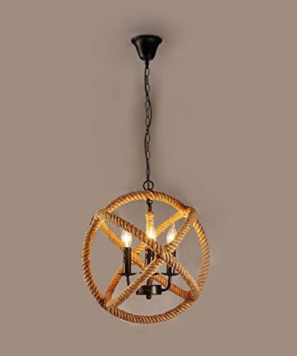 Lámpara colgante E27, 4 luces, cuerda de cáñamo, estilo retro, rústico, isla colgante, vintage, cuerda de cáñamo, industrial, viento