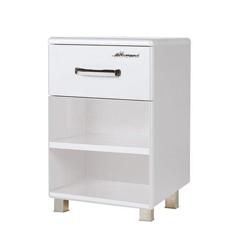 Miami Nachttisch mit 1 Schublade und 2 Ablagen, Holz, Weiss metallic, 42.9 x 45 x 57 cm