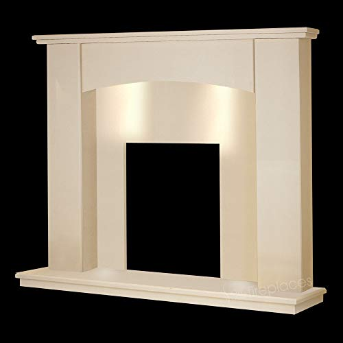 """Cream Marble Stone Curved Modern Surround Gas Wall Fireplace Suite with Spotlights - 1"""" Rebate"""