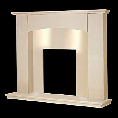 "Cream Marble Stone Curved Modern Surround Gas Wall Fireplace Suite with Spotlights - 1"" Rebate"