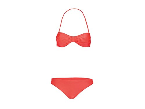 Esmara Damen Bandeau Bikni Strandbikini Triangel Bikini Bikinioberteil Bikiniunterteil (S 36/38, Rot)