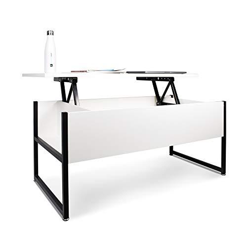 FRANKYSTAR Tavolino da Salotto con Contenitore in Stile Industrial tavolino da caffè in Acciaio e Legno Moderno con ripiano sollevabile