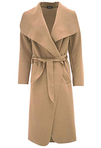 Islander Fashions Damen Trench Waterfall italienischen Duster Coat Damen Franz�sisch Belted Lange Jacke Kamel klein/Medium