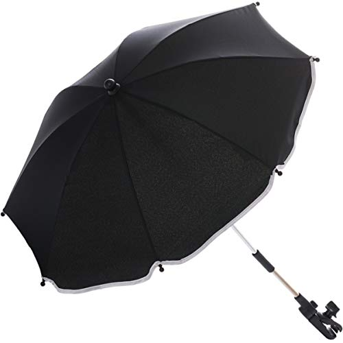 Sonnenschirm für Kinderwagen Buggy und Jogger mit UV SCHUTZ (50) Baby Kind Schirm (Black)