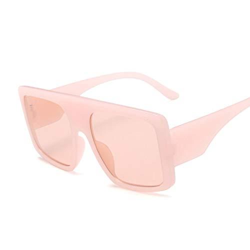 NJJX Gafas De Sol Cuadradas De Gran Tamaño De Lujo Para Mujer, Gafas De Sol Con Parte Superior Plana Grandes A La Moda, Montura Grande Para Mujer, Rosa Vintage
