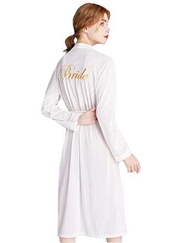 Morgenmantel Langarm Damen warme Bademantel Flanell Nachtwäsche V-Ausschnitt Schlafanzüge Kimono Nachthemd Robe Herbst Winter (Weiß,S (Asia M))
