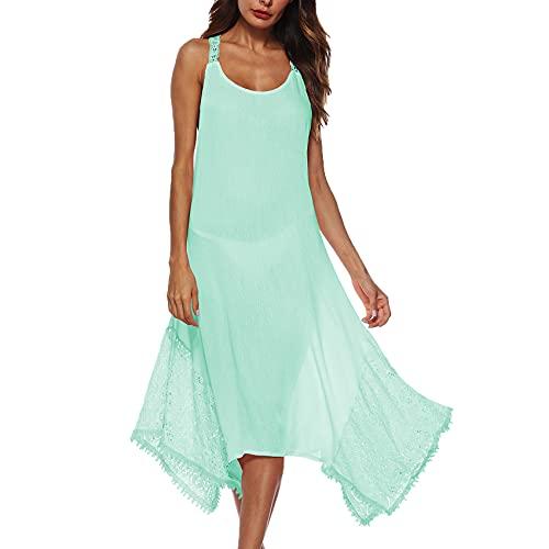 KeYIlowys Sling Open Back Cross Lace UnregelmäßIge SpitzennäHte Langes Kleid