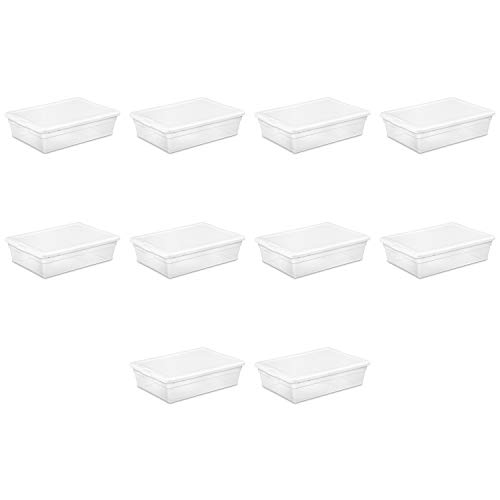 STERILITE 16558010 28 Quart/27 Liter Storage Box, White Lid w/Clear Base, 10-Pack