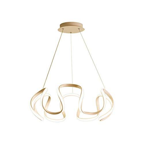 LANLANLife Luces Colgantes LED Doradas Modernas for Sala de Estar, Comedor, lámpara Colgante LED Regulable, Altura Ajustable