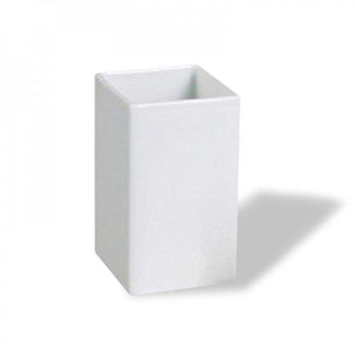 Porte-brosse à dents en céramique blanche ou taupe, 7 x 7 x 10 cm