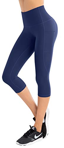 LIFE SKY Fleece Lined Yoga Pants with Pockets for Women, High Waist Tummy Control Winter Warm Tights, Thermal Running Leggings, Benzo Blue M