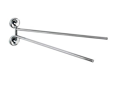 WENKO Power-Loc® Handtuchhalter mit 2 Armen Sion - Befestigen ohne bohren, Stahl, 4 x 11 x 37.5 cm, Chrom
