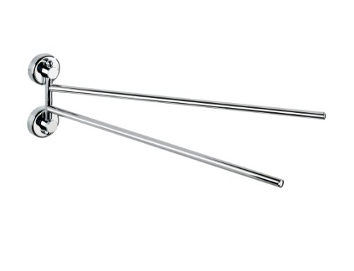 WENKO 19667100 Power-Loc Handtuchhalter mit 2 Armen Sion - Befestigen ohne bohren, Stahl, 4 x 11 x 37.5 cm, Chrom