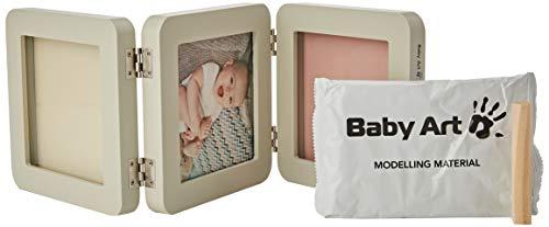 Baby Art - My Baby Touch Double Print Frame, Essentials, Dreiteiliger Foto Bilderrahmen abgerundet, mit 2x Gipsabdruck zum Selbermachen, Pastel, mehrfarbig