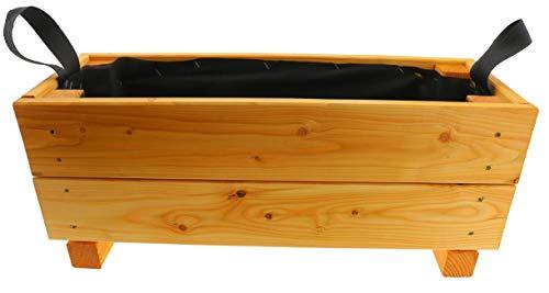 HOQ Pflanzkasten 60x22x24,5cm aus Lärche mit Vlies und Griffen