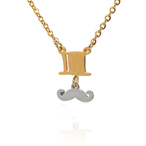 HUAN XUN British Mustache and Top Hat Necklace - Link Charm Pendant Charm Jewelry 16