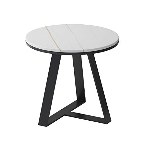 Z-W-DONG Wrought Iron Round Side Table, Single Layer Accent Table Home Bedroom Lounge Console Table Balcony Flower Stand bedside tables (Color : A, Size : 50 * 50 * 55CM)