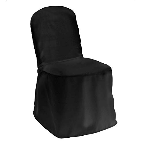 Lann's Linens 10 Elegant Wedding/Party Banquet Chair Covers - Polyester Cloth - Black