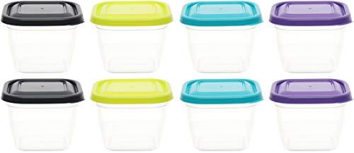 idea-station Vorratsdosen-Set 8 Stück, 480 ml, bunt, mit Deckel, stapelbar, Frischhaltedosen, Aufbewahrungsboxen, Lunchbox, Küchenhelfer, Meal Prep, Gefrierdosen