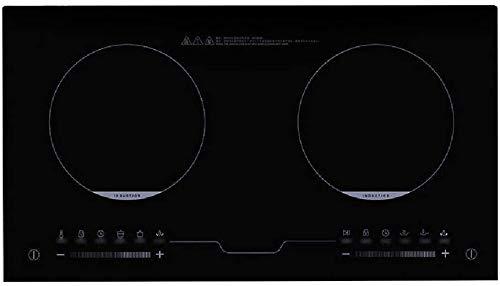 Placa de inducción cocina de alto rendimiento de doble disparo de cabeza 3300W integrado horno de inducción, vidrio de ventana negro de control táctil, negro,negro