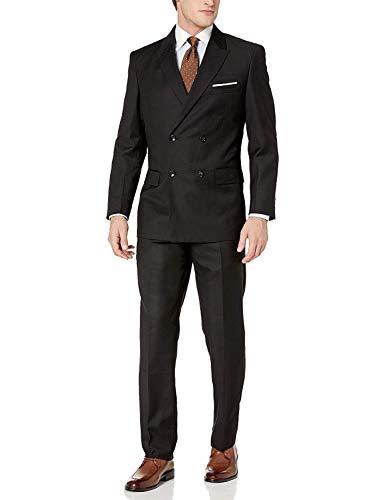 Adam Baker by Needle & Stitch DB4030 Men's 2-Piece Double Breasted Solid Peak Lapel Dress Suit - Black - 48R