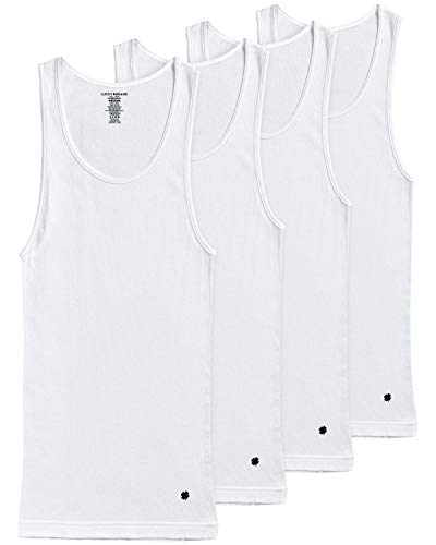 Lucky Brand Men's Classic A-Shirt Undershirt Tank Top (4 Pack), Size Large, White'