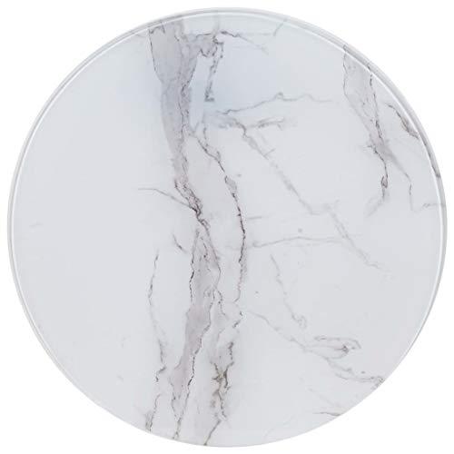UnfadeMemory Tischplatte Glas Tischplatten ideal als Ersatzteil Glasplatte in Marmoroptik DIY Tisch für Esstisch Couchtisch Beistelltisch oder Gartentische(Rund Ø60 cm, Weiß)