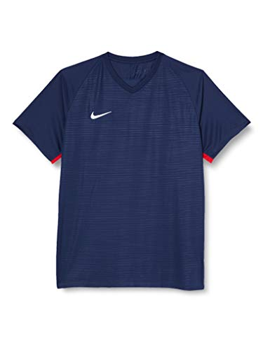 NIKE M NK Dry Tiempo Prem JSY SS T-Shirt, Hombre, Midnight Navy/Midnight Navy/University Red/White, L